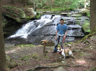 Mike and Cooper at the waterfalls _Mongaup Pond Aug 15 - 17- 2014