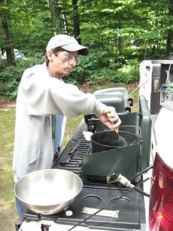 Mike Cooking Breakfast_Mongaup Pond Aug 15 - 17- 2014